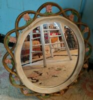 "Vintage SYROCO Wood Wall Mirror PINK Roses SHABBY CHIC 15 x 13"" Wall or Table"