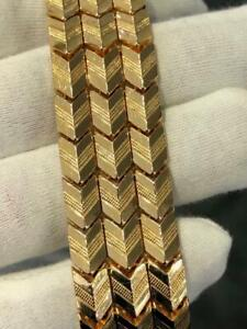 18k Yellow Gold Vintage Hand Made Diamond Cut Wide Tennis Bracelet 44.9 Gr 22mm