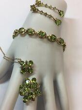 PERIDOT set ESTATE Gorgeous 14k Gold 22.8g appx 36ct Diamond Vintage Gem Stone