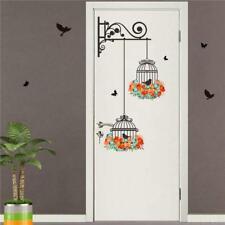 Bird Cage Tree Vine Flowers Wall Stickers Home Decor Mural Paper Decor JI