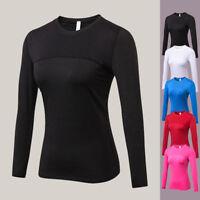 Damen Langarm Sport Fitness PRO TANK TOP Shirt T-Shirt Jogging Fitness P/D
