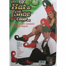 Elf Hat & Shoe Covers Jester Funny Adult Christmas Party Costume Accessories