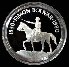 1980 SILVER PANAMA PROOF 20 BALBOAS SIMON BOLIVAR