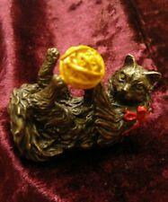 "Franklin Mint 1988 Curio Cabinet Cat Figurine ""Vienna Bronze"" - Cat & Yarn"
