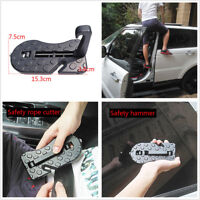 Foldable Car Roof Rack Assist Pedal Anti-slip Door Step Stopper w/Safety Hammer