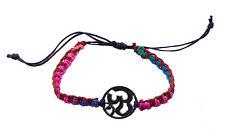 Bracelet bresilien ethnique multicolore Om hindu fil violet Ø 19mm - 25654