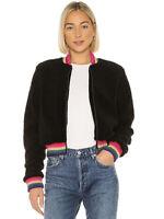 Spiritual Gangster NWT Size M Everything Furry Bomber Jacket Black Pink Gold