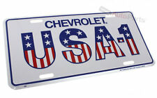 CHEVROLET USA-1 LICENSE PLATE ALUMINUM METAL EMBOSSED WHITE TAG for Car, Truck