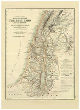 Middle East Holy Land Israel Palestine Syria illustrated map Fullarton ca.1872