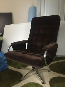 Cord Sessel orig 70er , drehbar  Chrom  Vintage Lounge
