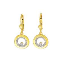 Echt Gold Damen Ohrringe mit Zirkonia Kreis 585Gold Pendel Gelbgold 14Karat 3071