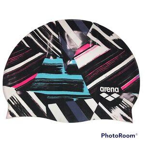 Arena Silicone Swim Cap Women Men Print 2: Freak Rose / Multi Color Unisex