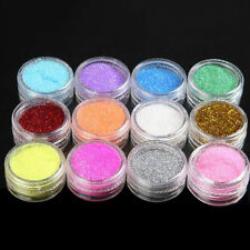 12 Color Metal Glitter Nail Art Tool Kit Acrylic UV Powder Dust gem Stamp No9J8T
