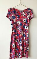 Boden Red Purple Blue Floral Stretch Empire Fit Flare Dress 8 Boho Casual Summer