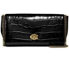 COACH 43021 TURN-LOCK CLUTCH IN EMBOSSED LEATHER Black & Gold Hardware