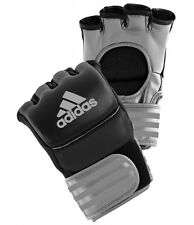 Adidas Ultimate Pro Leather MMA Gloves Silver / Black Sparring Grappling