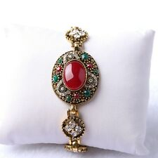 Noble Green Red Oval Round Rhinestone Inlay Gold Plated Lady Girl 20 cm Bracelet