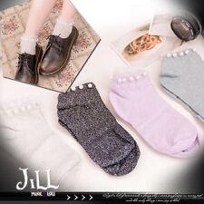 Japan lolita liz lisa fairy kei pearl beads tulle hem ankle socks J1A044