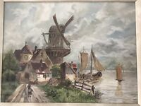 Antique Early 1900's Dutch Painting Of A Windmill  Scene Signed Initials HMC