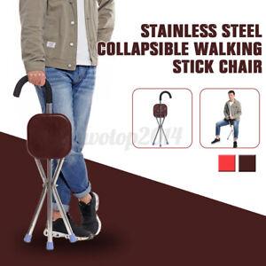 Folding Portable Walking Stick coffee Seat Tripod Cane Hiking Chair Tripod Stool