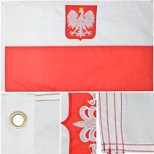 Poland 3' x 5' Ft Nylon Premium Outdoor Embroidered Polish Polska Eagle Flag