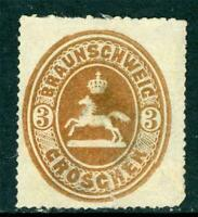 Germany 1865 Braunschweig 3 gr Bistre Brown SG #35a Mint I33 ⭐⭐⭐⭐⭐⭐