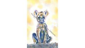 Baby Hyena Bear Original Watercolour Print Wall Art Nursery Work Picture