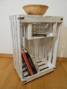 Shabby Chic Cupboard Night Table Apple Crate Distressed Display Stand Handmade