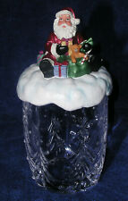 "Christmas Gorham Crystal Cookie Jar Santa Mint Cond Original Box 9.5"" Tall"