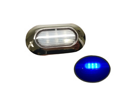 Marine Boat Blue LED Light SS304 Housing Surface Mount 12V 22 Lumen IP67 6 LEDs