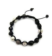 Black Glass Stone Beads Bracelet.Mhb-53He Men'S 10mm Stainless Beads &