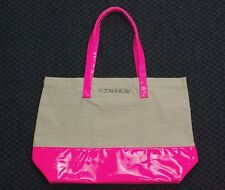 VICTORIA'S SECRET Large Tote Beach Duffel Bag Khaki Hot Pink Vinyl Canvas Shop
