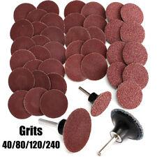 40Pcs 40/80/120/240 Grits 2'' Roloc Type R Sanding Abrasive Disc w/ Mandrel Lock