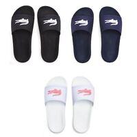 Lacoste Croco Slide 119 3 CFA Pool Beach Slip On Sandals in White, Black & Blue
