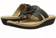 NEW Cliffs White Mountain Black Flower Wedge Heel Flip Flop Sandal 6.5 Shoe Cute