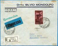 AMG-FTT - 1953 - Raccomandata Espresso resa franca con Lire 1000 P.A.26 - Caffaz