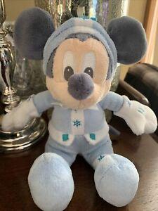 "Walt Disney Store Blue Nordic Winter snow Mickey Mouse 9"" Plush Stuffed Animal"