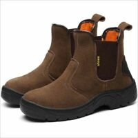 Men's Suede Ankle Boots Steel Toe Leather Slip Resistant Safe Work Shoes Hiking