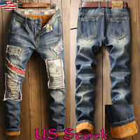 Men Winter Outdoor Stretch Thick fur Lined Trousers Warm Ripped Denim Jeans US