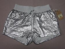 TRUE RELIGION WOMENS SEQUIN RUNNER SHORTS PALE AGAVE SILVER SHORTS SIZE XS NEW