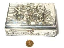 More details for vintage danish silver plated trinket box musicians dancing dog scene 13x9x4.5cm