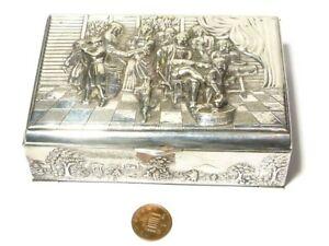 Vintage Danish Silver Plated TRINKET Box Musicians Dancing Dog Scene 13x9x4.5cm