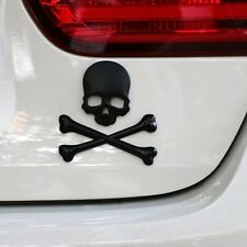 Fenders Bumper Auto SUV Body Tank Black Metal 3D Skull Head Emblem Sticker Cover