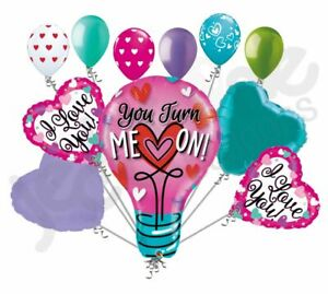 11 pc You Turn Me On Love Heart Happy Valentines Day Balloon Bouquet Kiss Hugs