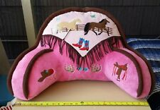 Backrest Pillow With Arms For Kids 2-tone Pink Brown Tan Horses Bedrest Carstens