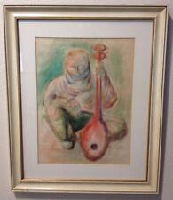 Vintage Abstract Painting Signed Brunner 1959 Mid-Century Framed Mandolin Man