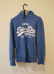 Superdry: Logo Pullover Fleece Hoodie - BLUE SMALL