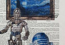 R2D2 C3po vs Van Gogh - Starry Night - dictionary page art print gift -