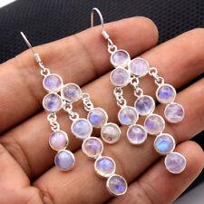 Round Moonstone Gemstone Handmade Dangle Earrings 925 Sterling Silver Jewelry