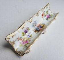 Dresden Courting Couple Porcelain Pen Tray Victorian Floral Gilt Painted Footed